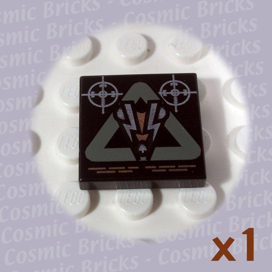 LEGO Black Tile 2x2 Insectoid Logo Triangle 3068 (single,U)