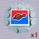 LEGO White Tile 2x2 Classic Space Logo Red Blue Background 4594203 3068 92400 (single,N)