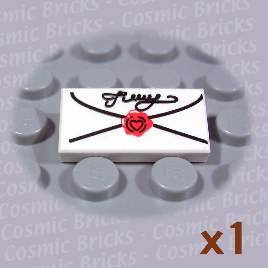 LEGO White Tile 1x2 Mail Envelope Cursive Script Seal 3069 (single,N)