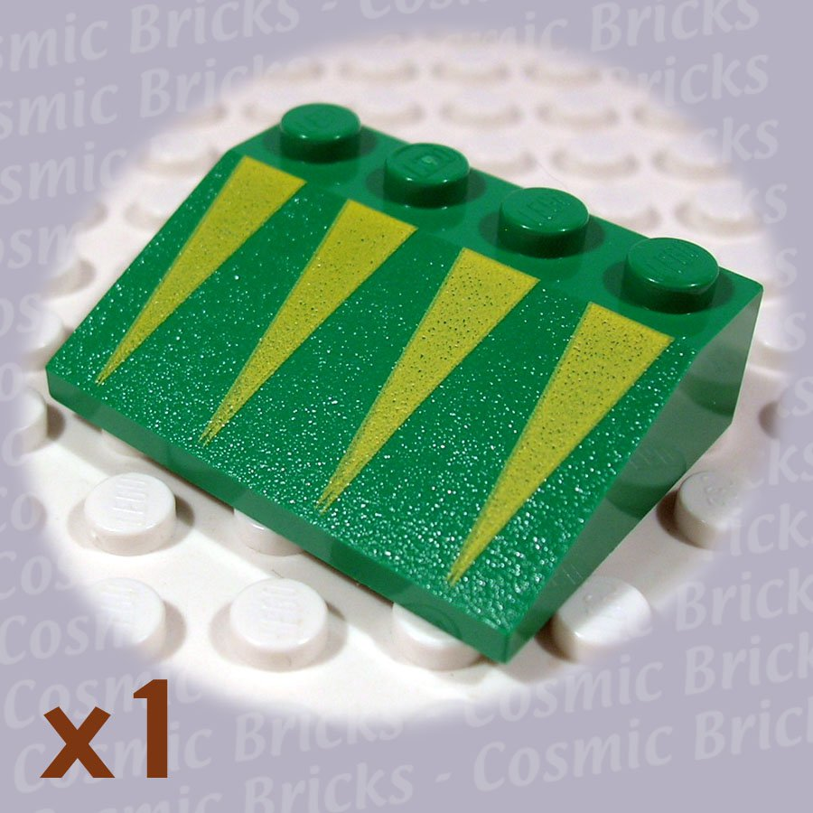 LEGO Dark Green Slope 33 3x4 Yellow Triangles 3297 (single,N)