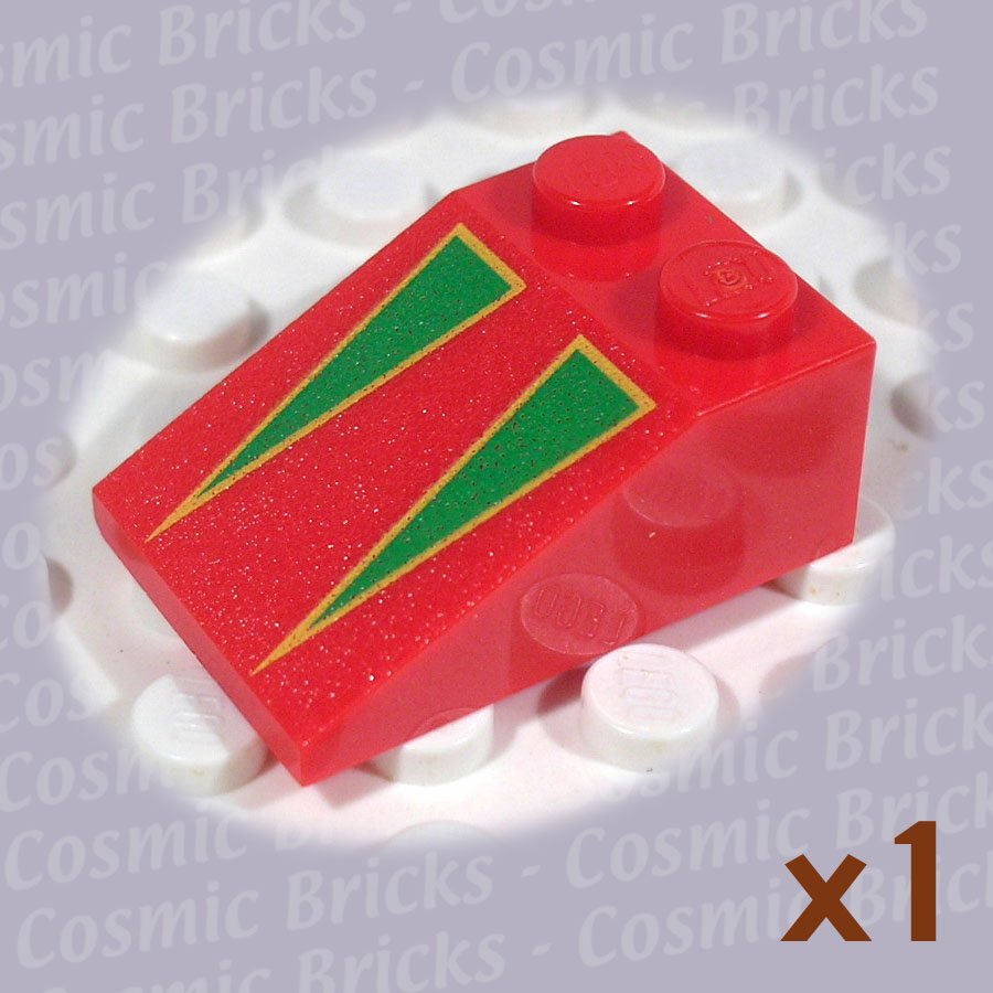LEGO Red Slope 33 3x2 Green Triangles Yellow Borders 3298 (single,N)