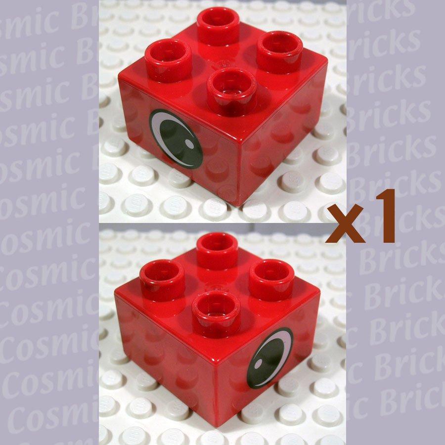LEGO Bright Red Duplo Brick 2x2 Eye White Spot on Two Sides 4107957 3437 (single,N)