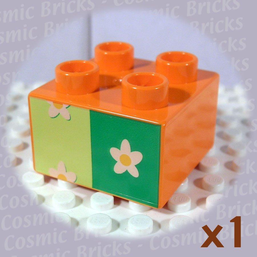 LEGO Orange Duplo Brick 2x2 Flower Wallpaper 3437 (single,N)