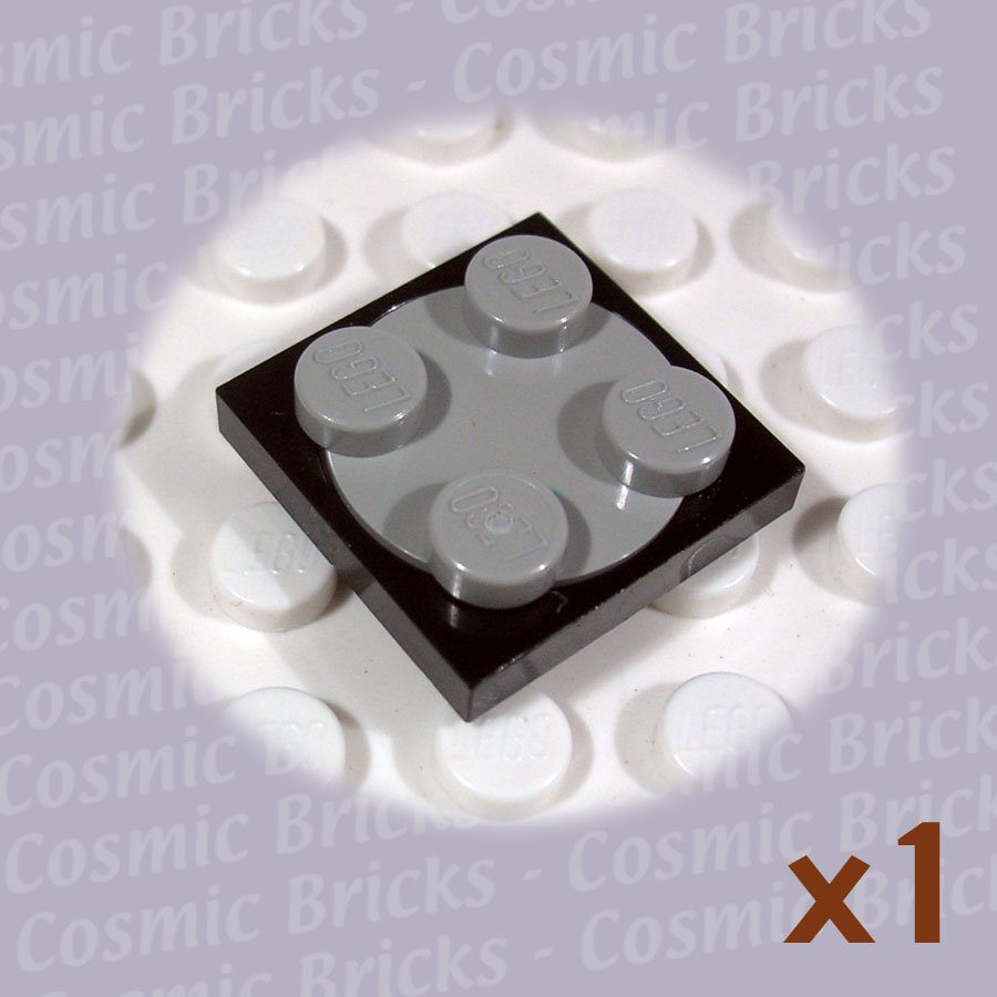 LEGO Black Turntable 2x2 Plate Light Gray Top 3680 (single,N)