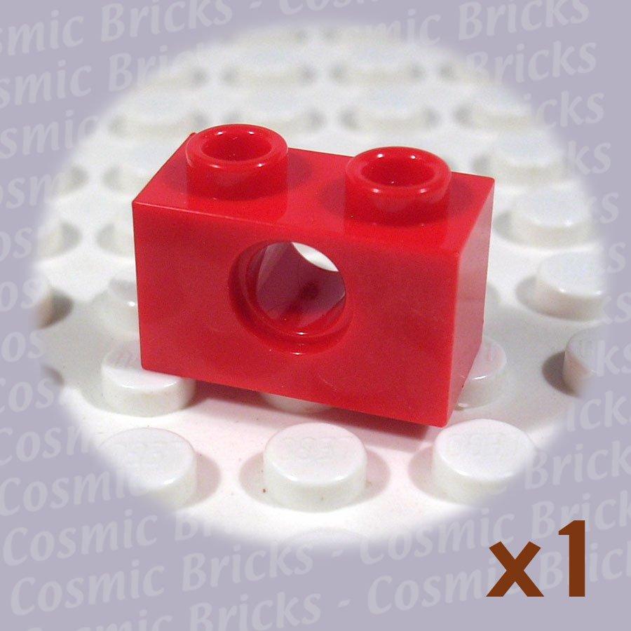 LEGO Bright Red Technic Brick 1x2 with Hole 370021 3700 (single,U)
