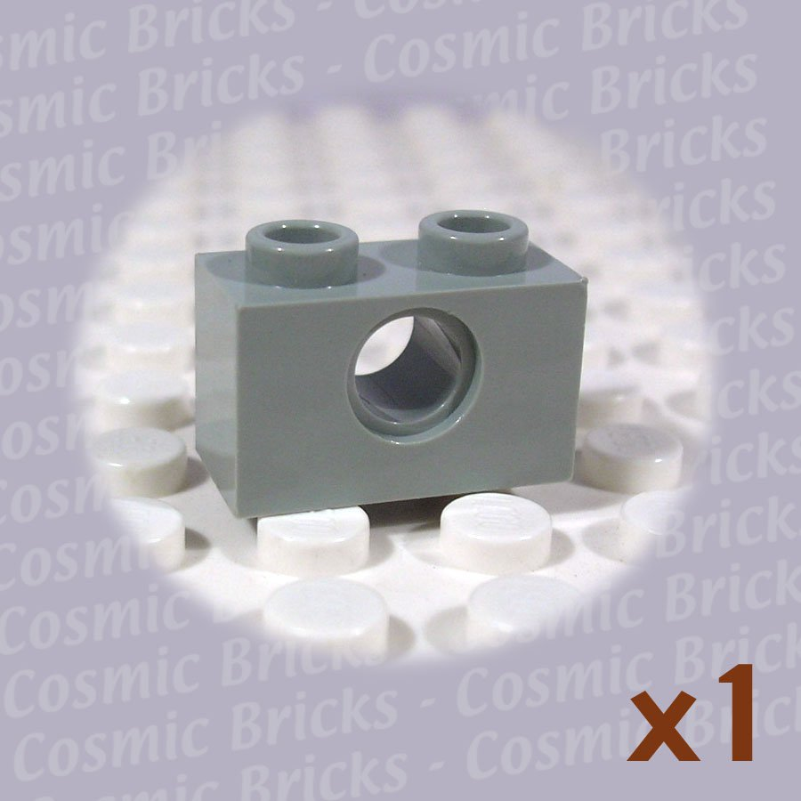 LEGO Light Gray Technic Brick 1x2 Hole 370002 3700 (single,N)