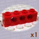 LEGO Red Technic Brick 1x4 with Holes 370121 3701 (single,U)