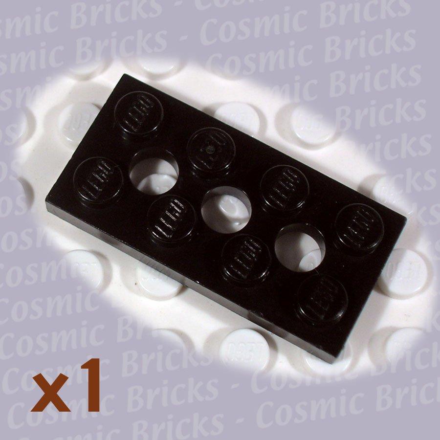 LEGO Black Technic Plate 2x4 3 Holes 370926 3709 (single,U)