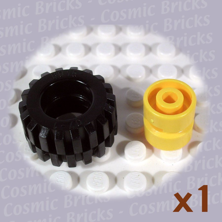LEGO Yellow Wheel and Black Tire 11.5x12mm 6014 (single,N)