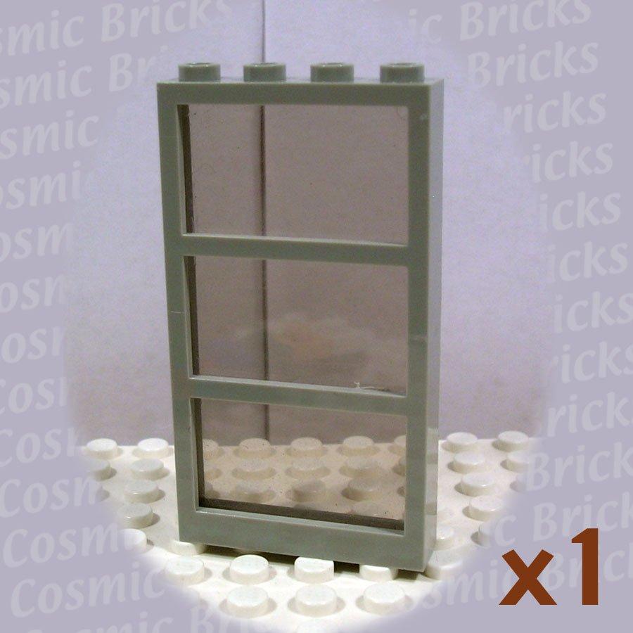 LEGO Light Gray Window 1x4x6 Frame 3 Panes Fixed Glass Trans-Black Glass 6160 (single,U)