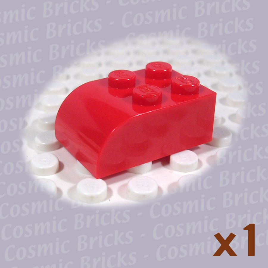 LEGO Red Brick Modified 2x3 Curved Top 621521 6215 (single,N)