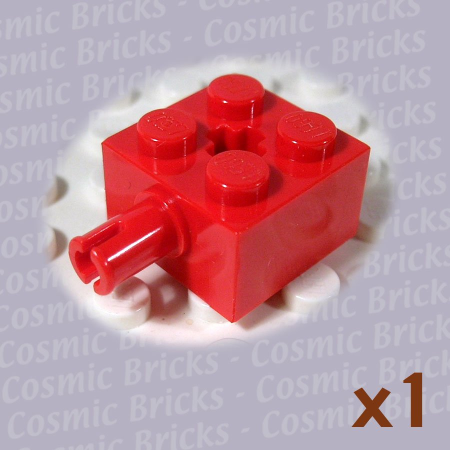 LEGO Bright Red Brick Modified 2x2 Pin and Axle Hole 623221 6232 (single,N)