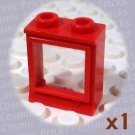 LEGO Red Window 1x2x2 Fixed Glass 7026 (single,U)