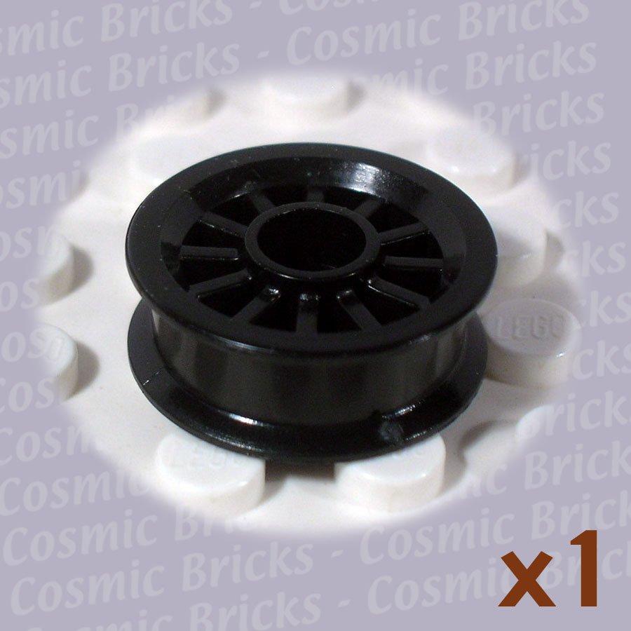 LEGO Black Wheel Spoked 2x2 Pin Hole 4156948 30155 (single,N)