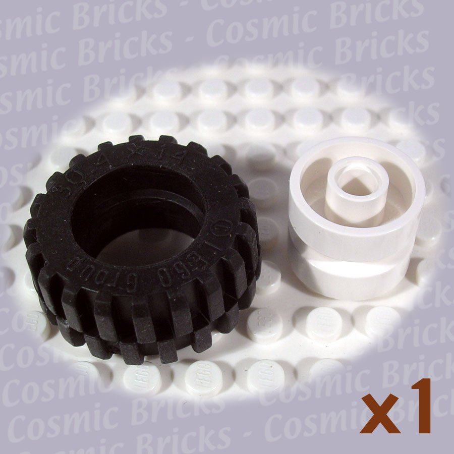 LEGO White Wheel and Black Tire 30.4x14 30285 (single,N)