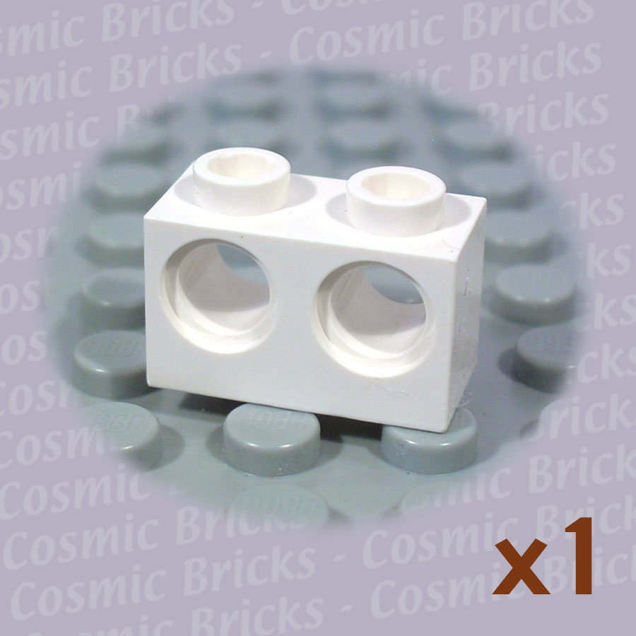 LEGO White Technic Brick 1x2 Holes 32000 (single,N)
