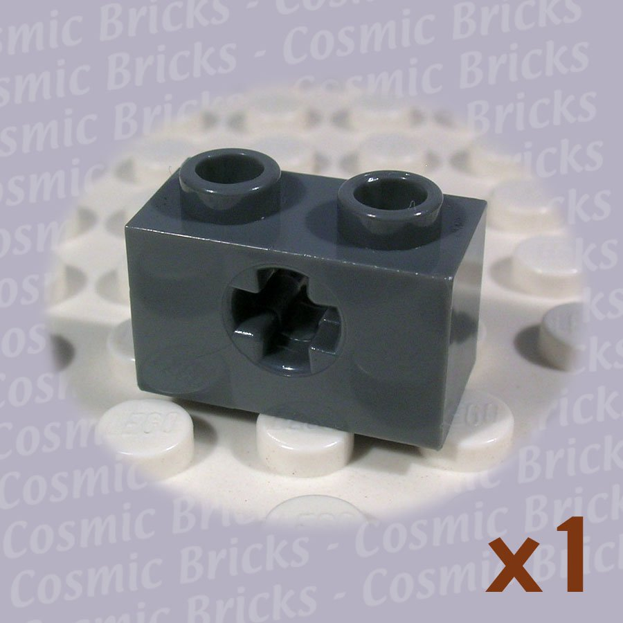 LEGO Dark Bluish Gray Technic Brick 1x2 Axle hole 4210935 32064 (single,N)