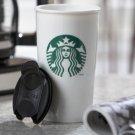 New Starbucks 2012.  white ceramic  travel coffee mug with locking lid 12oz
