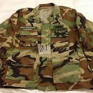 Woodland Camo BDU Men's Shirt,Summer Cloth, Lrg/Reg.US Navy,First Class Patch