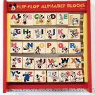 Disney Flip Flop Alphabet Blocks Wood Mickey Minnie Goofy Pluto Donald Kids Toy