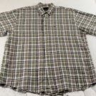 Greg Norman Collection Short Sleeve Button Up Plaid 55% Linen 45% Cotton