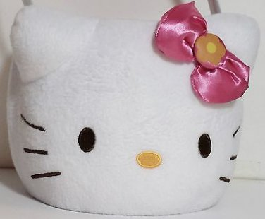 "Hello Kitty Plush Easter Basket with Handle 6"" Diameter 6"" Deep Great Condition"