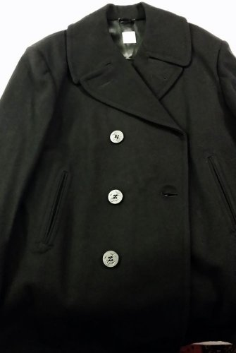 1987 Vintage US Navy Issue Wool Pea Coat Men's 44 S, CS1 Patch Black Peacoat