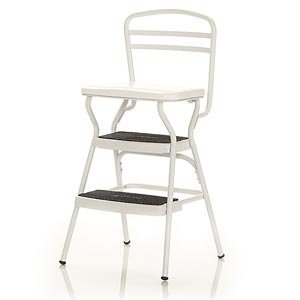 Cosco White Retro Counter Chair / Step Stool w/Lift-up Seat 11130WHTE Step Stool