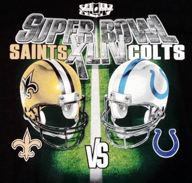 Super Bowl XLIV Saints vs Colts Black NFL T-shirt Men's XL New with Tags