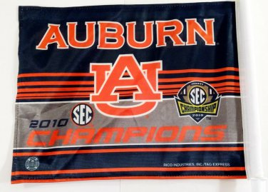 "Auburn Tigers 2010 SEC Champs Car Flag 15x11 SEC Orange/Blue/White 20"" Pole"
