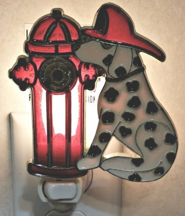 STAINED GLASS STYLE DALMATIAN AND FIRE HYDRANT NIGHT LIGHT