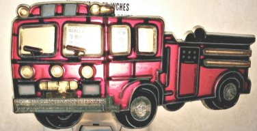 STAINED GLASS STYLE FIRE TRUCK NIGHT LIGHT