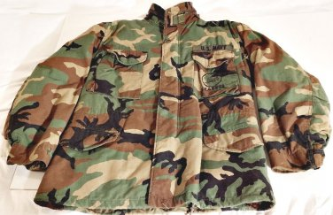 Woodland Camo Cold Weather Field Jacket w/Button in liner SeaBee on Pocket