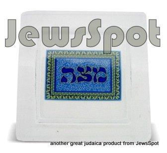 GLASS MATZAH PLATE BLUE 30 CM