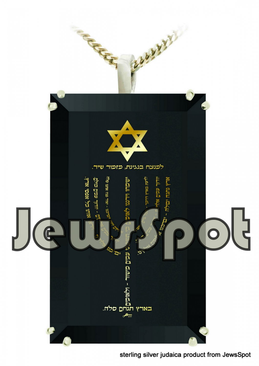 "SS PENDANT NANNO 24 KT GOLD IMPRINT- ""FOR BLESS & SUCCESS"" MENORAH + CHAIN, BOX, MAGNIFYING GLASS"