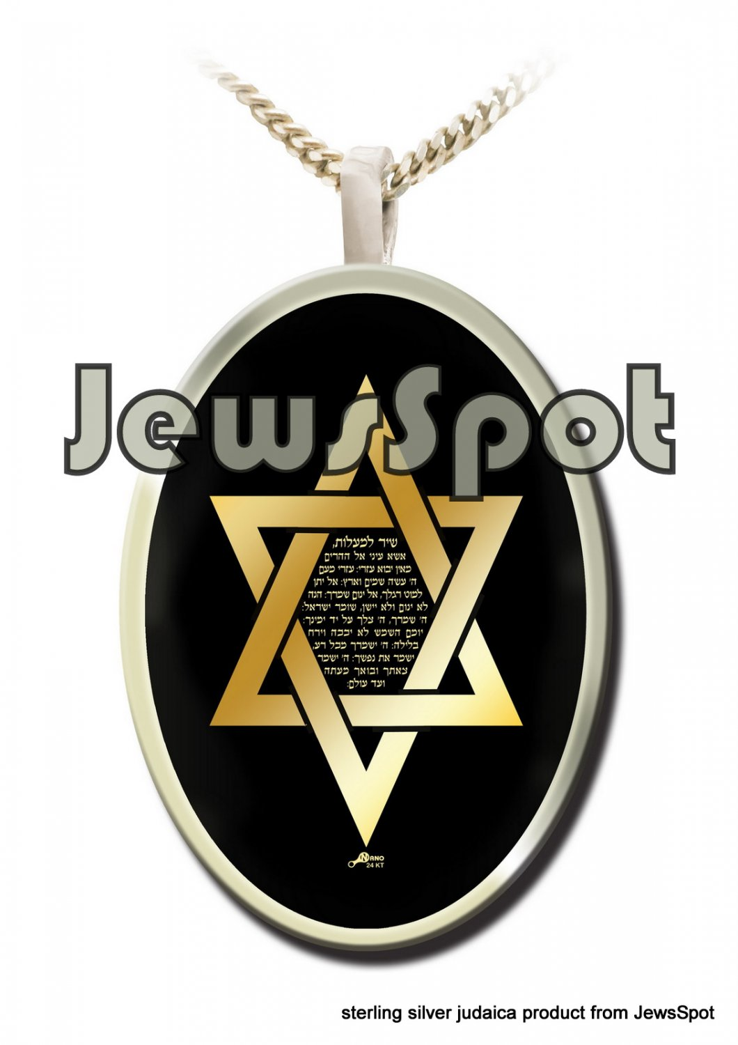 "SS PENDANT NANNO 24 KT GOLD IMPRINT- ""SHIR HAMAALOT"" M. DAVID + CHAIN, BOX, MAGNIFYING GLASS"