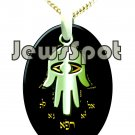 "SS PENDANT NANNO 24 KT GOLD IMPRINT- ""FOR COMPLETE RECOVERY"" HAMSA + CHAIN, BOX, MAGNIFYING GLASS"