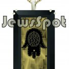 "SS SQUARE PENDANT NANNO 24 KT GOLD IMPRINT- ""TRAVELLERS PRAYER"" HAMSA + CHAIN, BOX, MAGNIFYING GLAS"