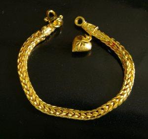 """7.5"""" handmade weave 24K gold filled bracelet heart 013"""