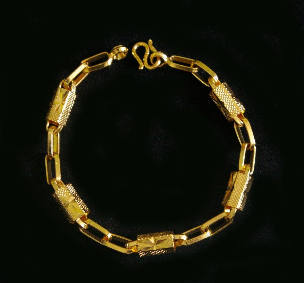 """7.3""""chain & bead 24K gold filled bracelet bangle 80"""