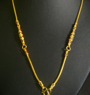 "24"" Enamel bead 24K gold filled necklace 40"
