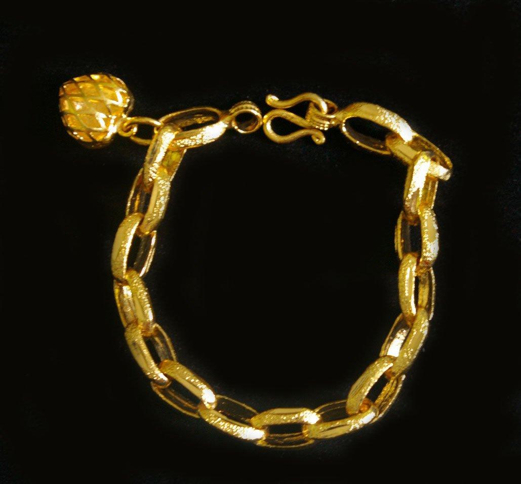 """6.9""""sand chain Fret heart 24K gold filled bracelet 62"""