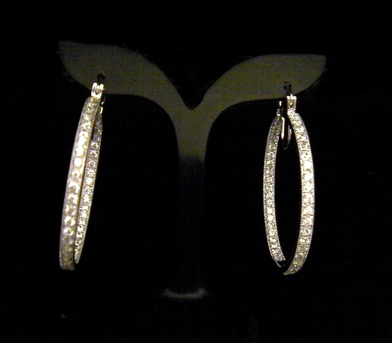 modern 24K white gold filled cz diamond hoop earrings10