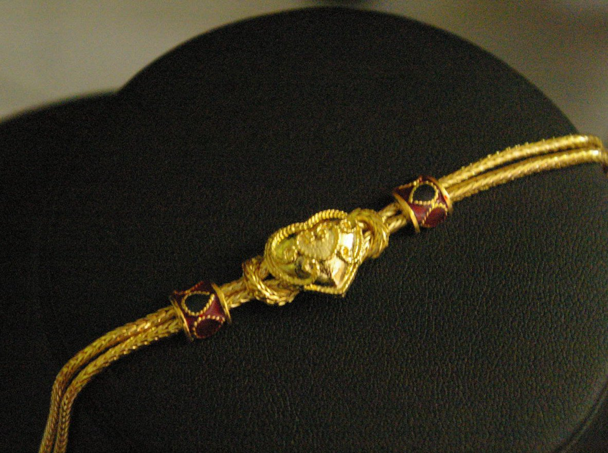 "6.9"" bead enamel heart weave 24K gold filled bracelet 19"