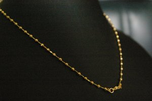 """15.8"""" bead graduated 24K gold filled necklace 30"""