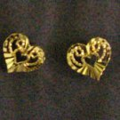 lovely tiny fret heart all 24K gold filled earrings