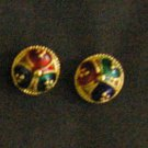 enamel button earrings all 24K gold filled earrings