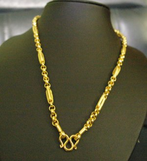 "21"" link chain & sand chain handmade 24K gold filled necklace 78"