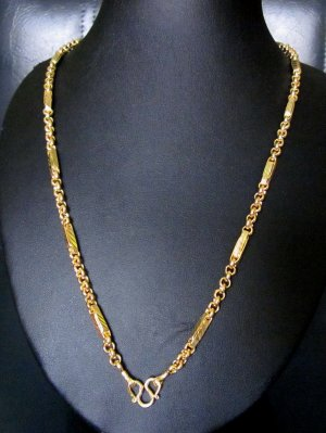 "23.2""shinny chain & rod handmade 24K gold filled necklace 89"