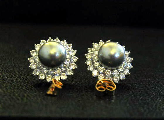 Synthetic black peral 24K gold filled cz earrings 03